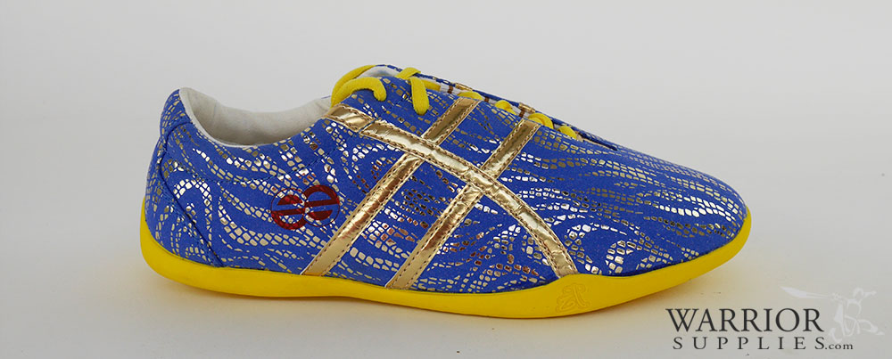 Leather Wushu shoes - dark blue golden stripes